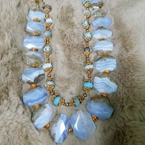 Stunning chalcedony necklace+ larimar necklace